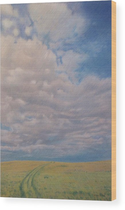 North Dakota Wood Print featuring the pastel Prairie Trail by Cris Fulton