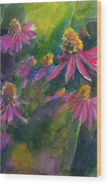 Purple Wood Print featuring the painting Purple Cone Flowers Outside Beye School by Joseph Abboreno