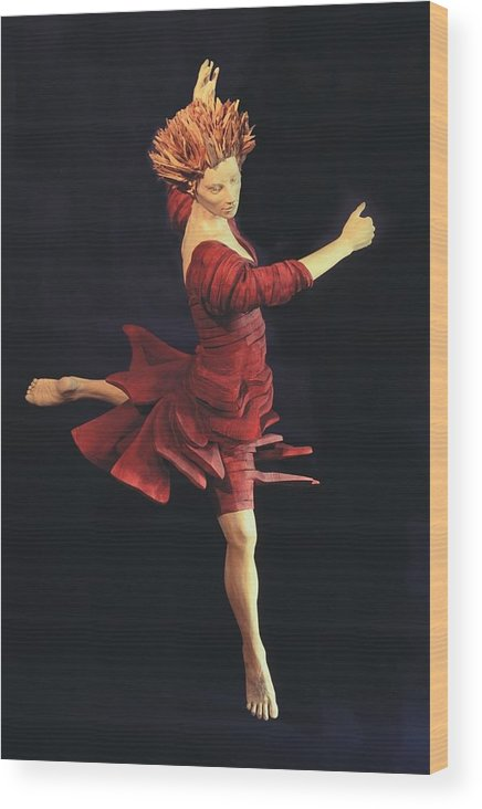 Ballerina Wood Print featuring the sculpture Red Dancer Front View by Gordon Becker