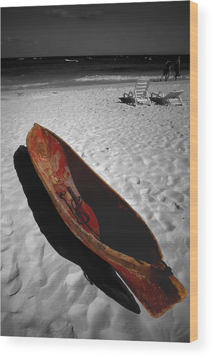 Photography Wood Print featuring the photograph Red Paddle Boat Playa Del Carmen by Tom Fant