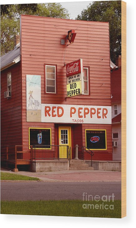 Redpepper Wood Print featuring the photograph Red Pepper Restaurant by Steve Augustin