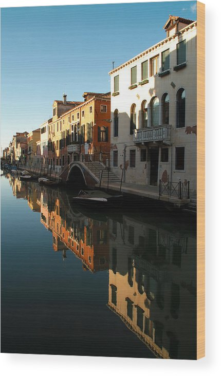 Venice Wood Print featuring the photograph Reflection On The Cannaregio Canal In Venice by Michael Henderson