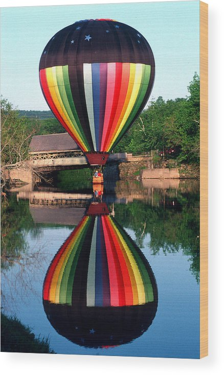 Hot Air Balloon Wood Print featuring the photograph Reflections Of A Balloonist by Jim DeLillo