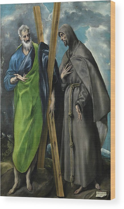 Andrew Wood Print featuring the painting Saint Andrew And Saint Francis by El Greco