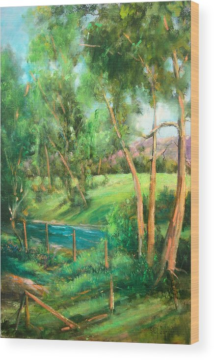 Streams Wood Print featuring the painting Santa Rosa Creek by Sally Seago