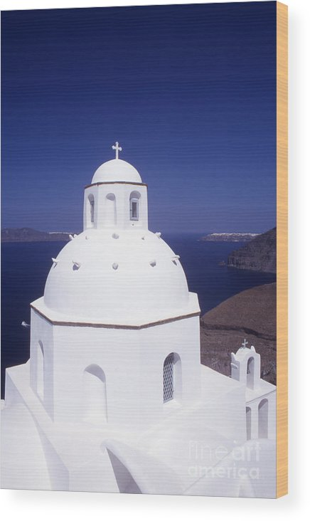 Cyclades Wood Print featuring the photograph Santorini Church by Steve Outram