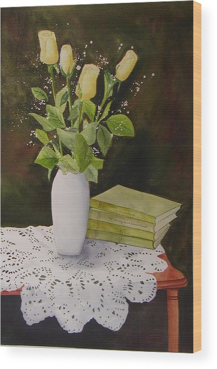 Watercolour Wood Print featuring the painting Shaw And Yellow Roses by Sharon Steinhaus
