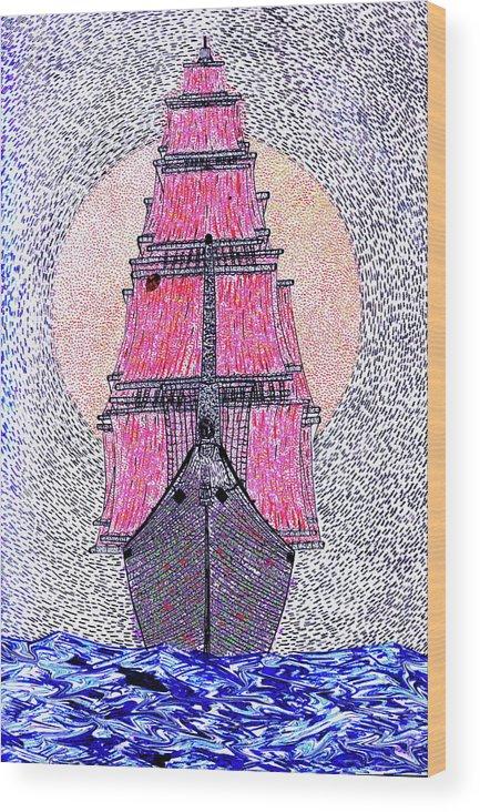 Ship Sun Ship Sea Wood Print featuring the painting Ship In Sun by Yury Bashkin