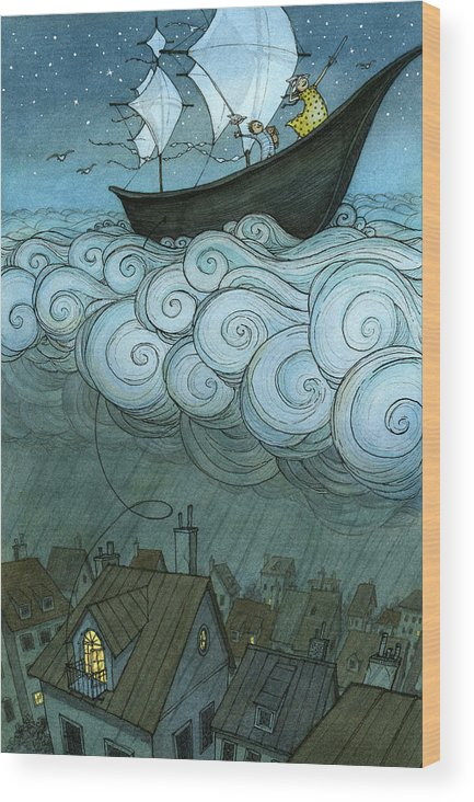Wood Print featuring the drawing Sky Sailing by Eliza Wheeler