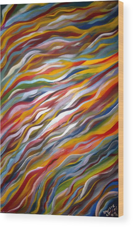 Abstract Wood Print featuring the painting Sliding by Hollie Leffel