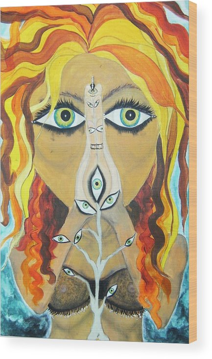 Bellydancers Wood Print featuring the painting Smokin Bellydancer by Meshal Hardie