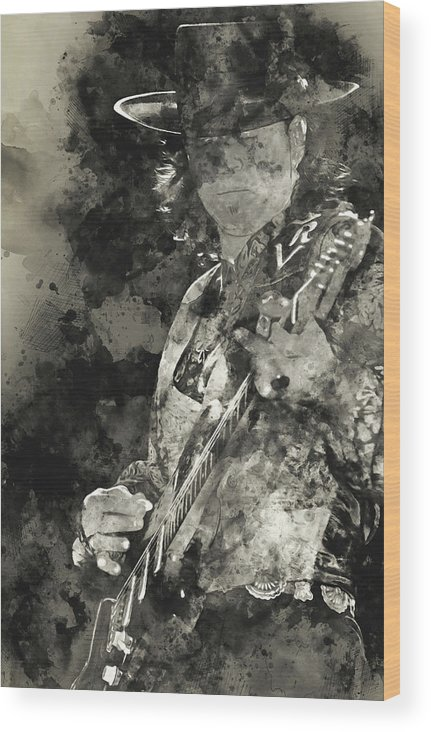 Stevie Ray Vaughan Wood Print featuring the painting Stevie Ray Vaughan - 15 by Andrea Mazzocchetti
