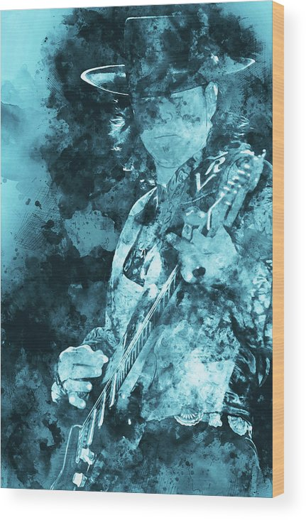 Stevie Ray Vaughan Wood Print featuring the painting Stevie Ray Vaughan - 16 by Andrea Mazzocchetti