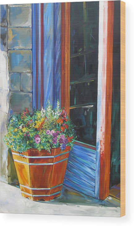 Pansy Wood Print featuring the painting Stopping At An Entryway by Karen Doyle