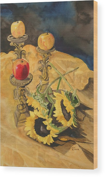 Still Life Wood Print featuring the painting Sunflowers And Apples by Jean Blackmer