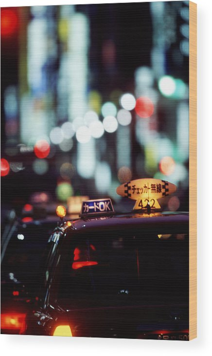 Taxi Wood Print featuring the photograph Taxis On The Ginza by Brad Rickerby