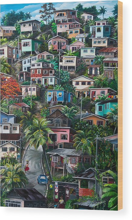 Landscape Painting Cityscape Painting Houses Painting Hill Painting Lavantille Port Of Spain Painting Trinidad And Tobago Painting Caribbean Painting Tropical Painting Caribbean Painting Original Painting Greeting Card Painting Wood Print featuring the painting The Hill   Trinidad by Karin Dawn Kelshall- Best