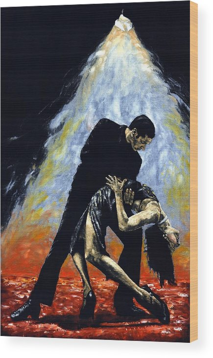 Tango Wood Print featuring the painting The Intoxication Of Tango by Richard Young