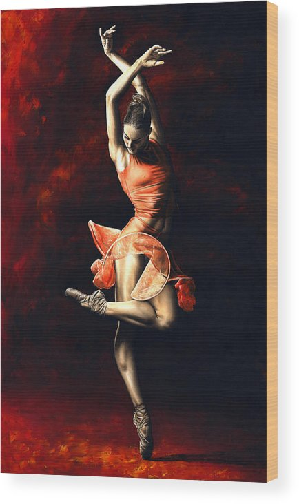 Dancer Wood Print featuring the painting The Passion Of Dance by Richard Young