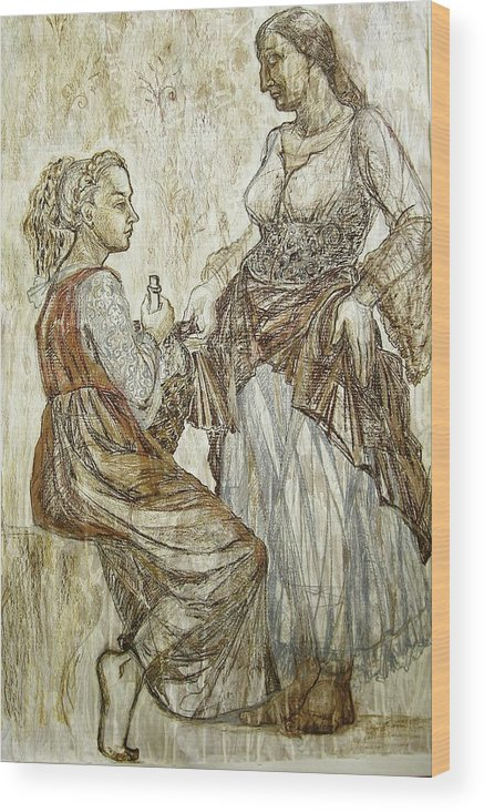 Fresco Wood Print featuring the drawing This Was by Kseniya Nelasova