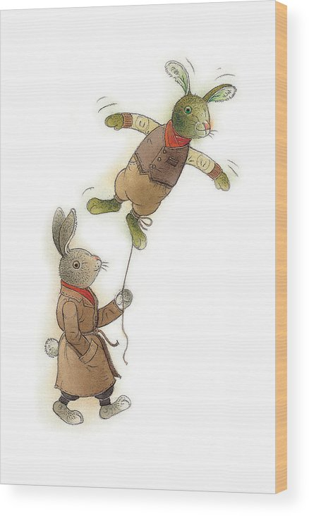 Rabbit Animals Flying Green Spring Wood Print featuring the painting Two Rabbits 02 by Kestutis Kasparavicius