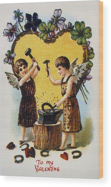 1900 Wood Print featuring the photograph Valentines Day Card, 1900 by Granger