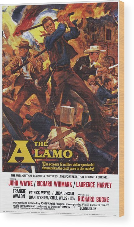 Alamo Wood Print featuring the painting Vintage Classic Movie Posters, The Alamo by Esoterica Art Agency