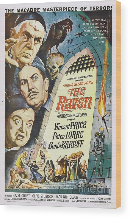 Raven Wood Print featuring the painting Vintage Classic Movie Posters, The Raven by Esoterica Art Agency