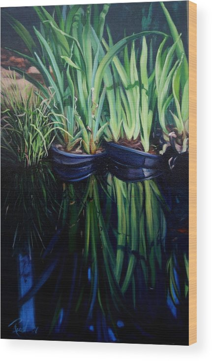 Landscape Wood Print featuring the painting Water Garden Serie-h by Patricia Reed