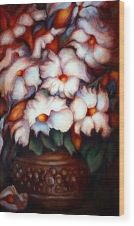 Flower Artwork Wood Print featuring the painting Western Flowers by Jordana Sands
