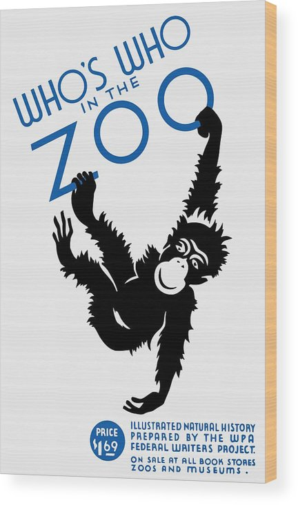 Wpa Wood Print featuring the painting Who's Who In The Zoo - Wpa by War Is Hell Store