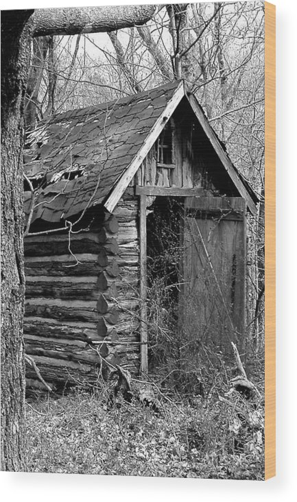 Ansel Adams Wood Print featuring the photograph Winslowlogouthouse-11x17 by Curtis J Neeley Jr