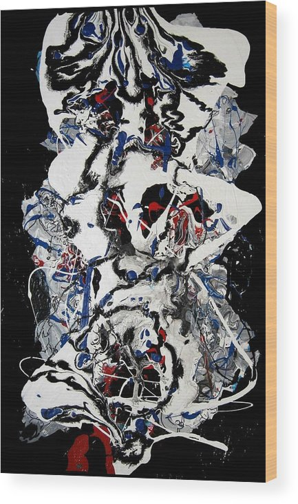 Abstract Wood Print featuring the painting Winter Meltdown by Paul Freidin