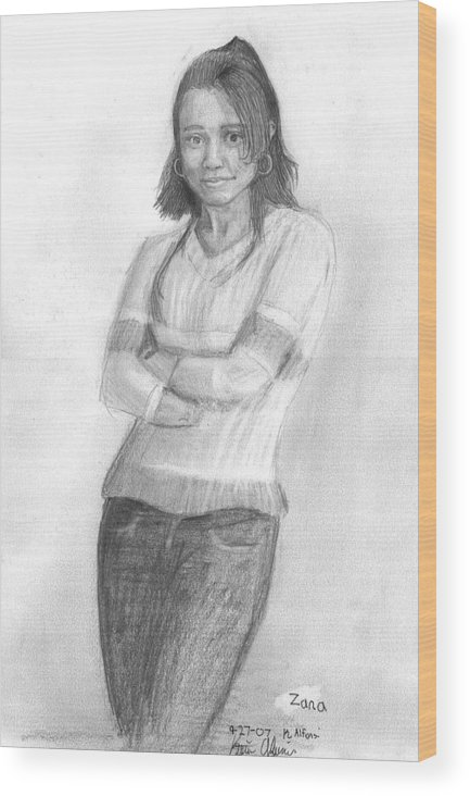 Wood Print featuring the drawing Zana by Katie Alfonsi