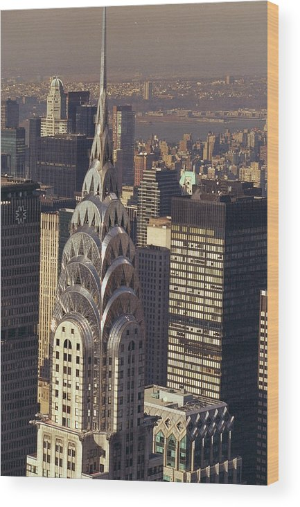 Aerial View Of The Chrysler Building Wood Print By New York Daily