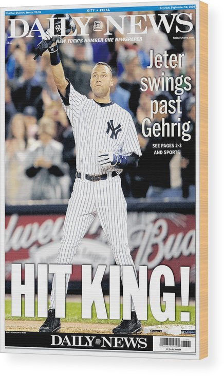 American League Baseball Wood Print featuring the photograph Daily News September 12, 2009, Hit by New York Daily News Archive