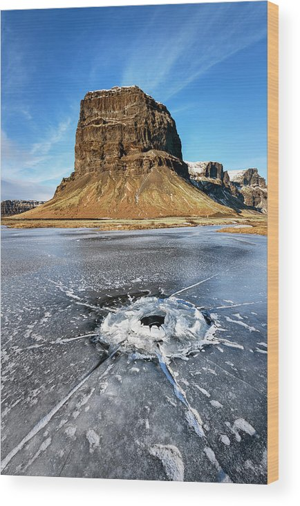 Joan Carroll Wood Print featuring the photograph Lomagnupur Mountain Iceland by Joan Carroll