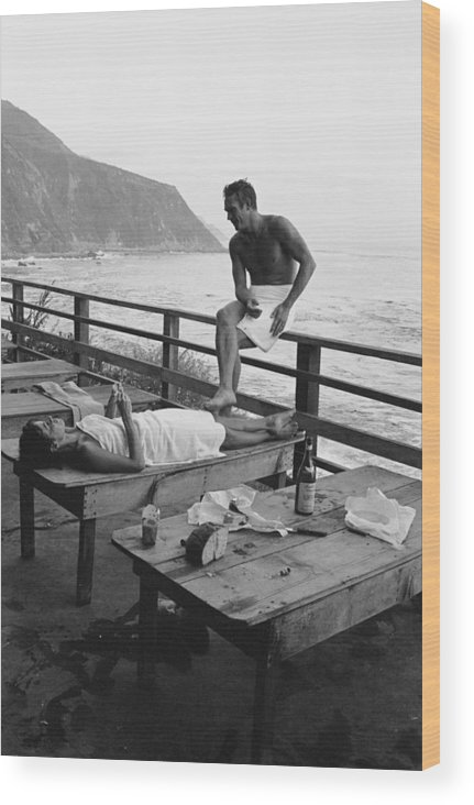 Steve Mcqueen Wood Print featuring the photograph Mcqueen & Adams Relax In Big Sur by John Dominis