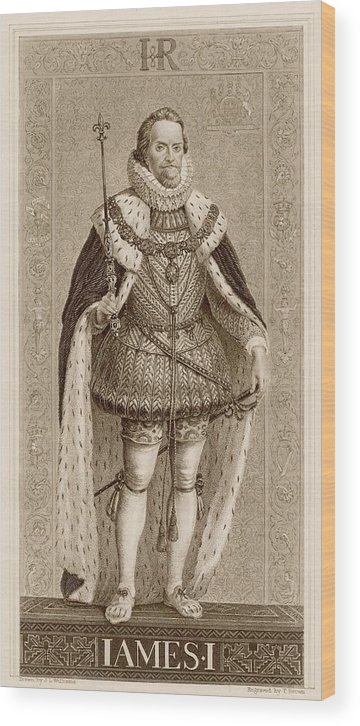 James Wood Print featuring the drawing James I Of England James Vi Of Scotland by Mary Evans Picture Library