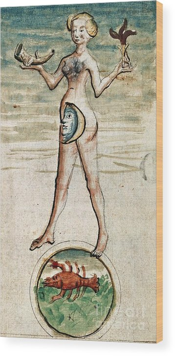 Luna Wood Print featuring the photograph Personification Of Luna, 15th Century by British Library
