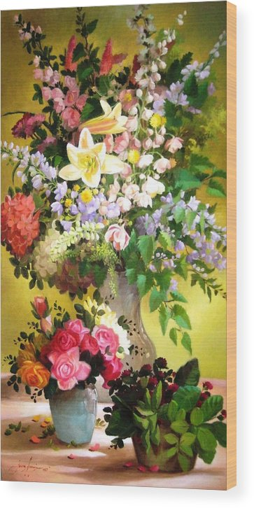Francisco Jerome Wood Print featuring the painting Rosy Blooms by Francisco Jerome
