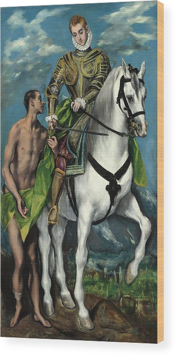 Bishop Of Tours Wood Print featuring the painting Saint Martin And The Beggar by El Greco