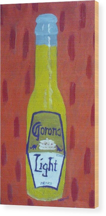 Pop Art Wood Print featuring the painting Bottle Of Corona Light by Patrice Tullai