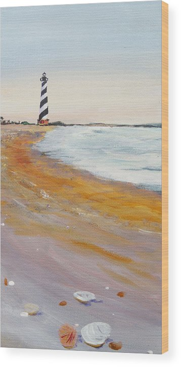 Cape Hatteras Wood Print featuring the painting Cape Hatteras Lighthouse by Anne Marie Brown