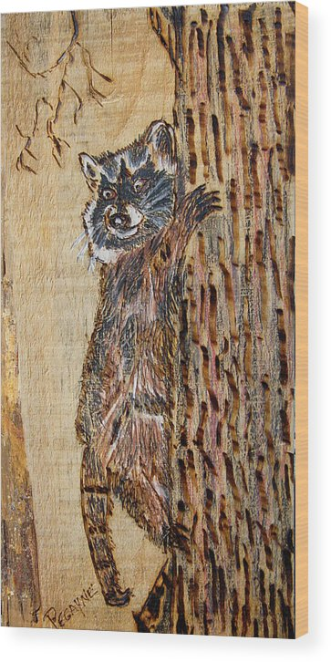 Trees Wood Print featuring the pyrography Catch Me If You Can by Margaret G Calenda