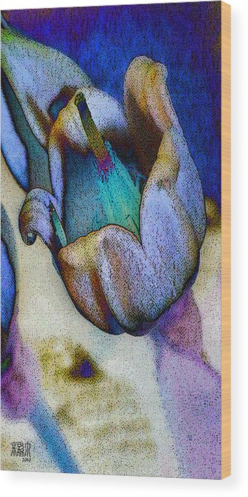 Microscopic Wood Print featuring the digital art Elfin Blue by Michele Caporaso
