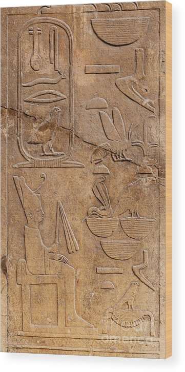Africa Wood Print featuring the photograph Hieroglyphs On Ancient Carving by Jane Rix