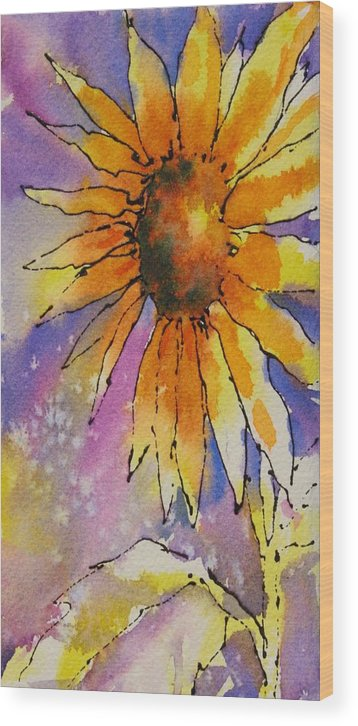 Sunflowers Wood Print featuring the painting Kansas Day by Tara Moorman