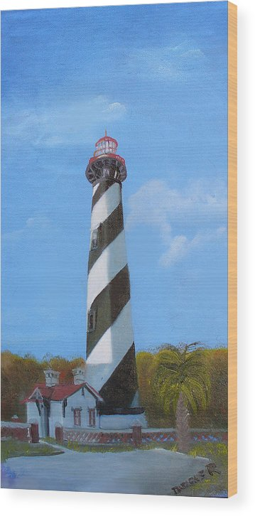Lighthouse Wood Print featuring the painting St Augusstine Lighthouse by Darlene Green