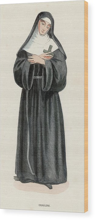 Ursuline Wood Print featuring the drawing Ursuline Nun Devoted To Saint Ursula by Mary Evans Picture Library